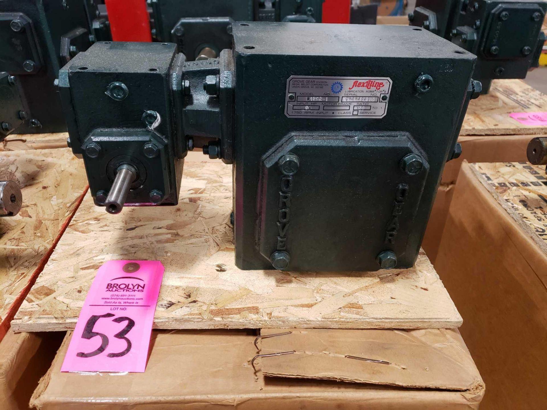 Lot 53 - Grove Gear Flexaline gearbox worm gear speed reducer model D1262-1, ratio 150:1. New in box.