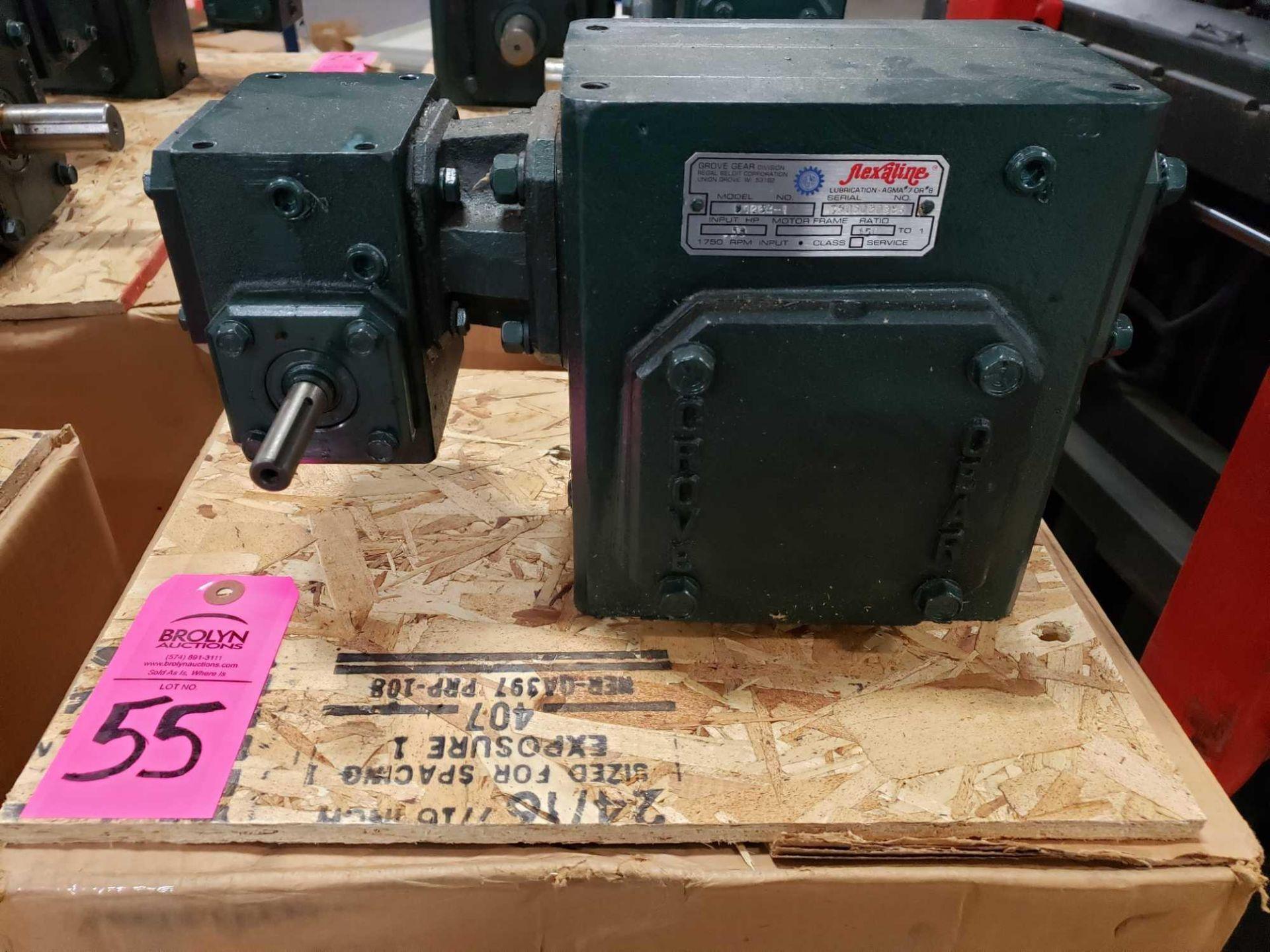 Lot 55 - Grove Gear Flexaline gearbox worm gear speed reducer model D1262-1, ratio 150:1. New in box.