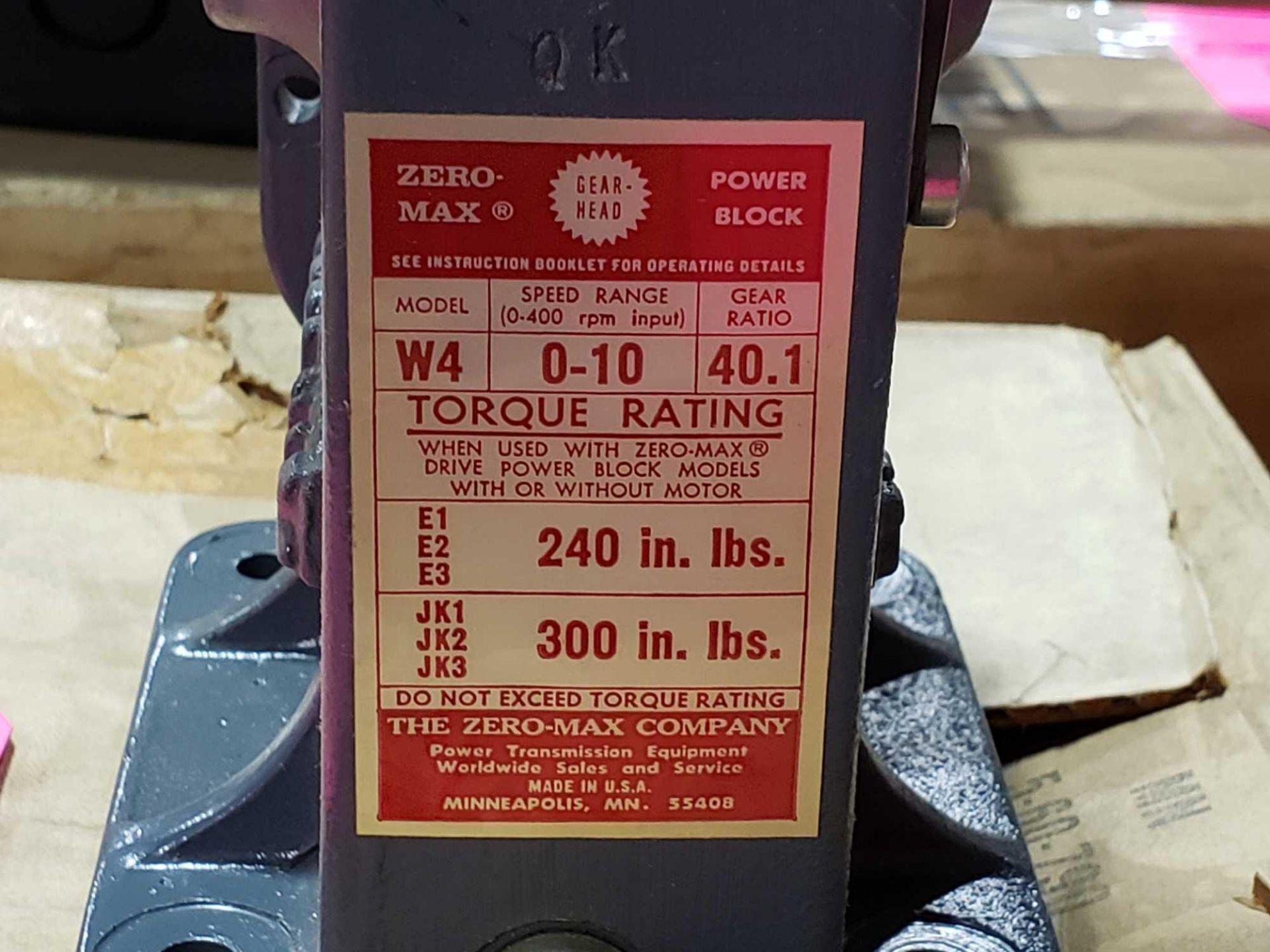 Lot 23 - Zero-max power block model W4, speed range 0-10, gear ratio 40.1. New in box.