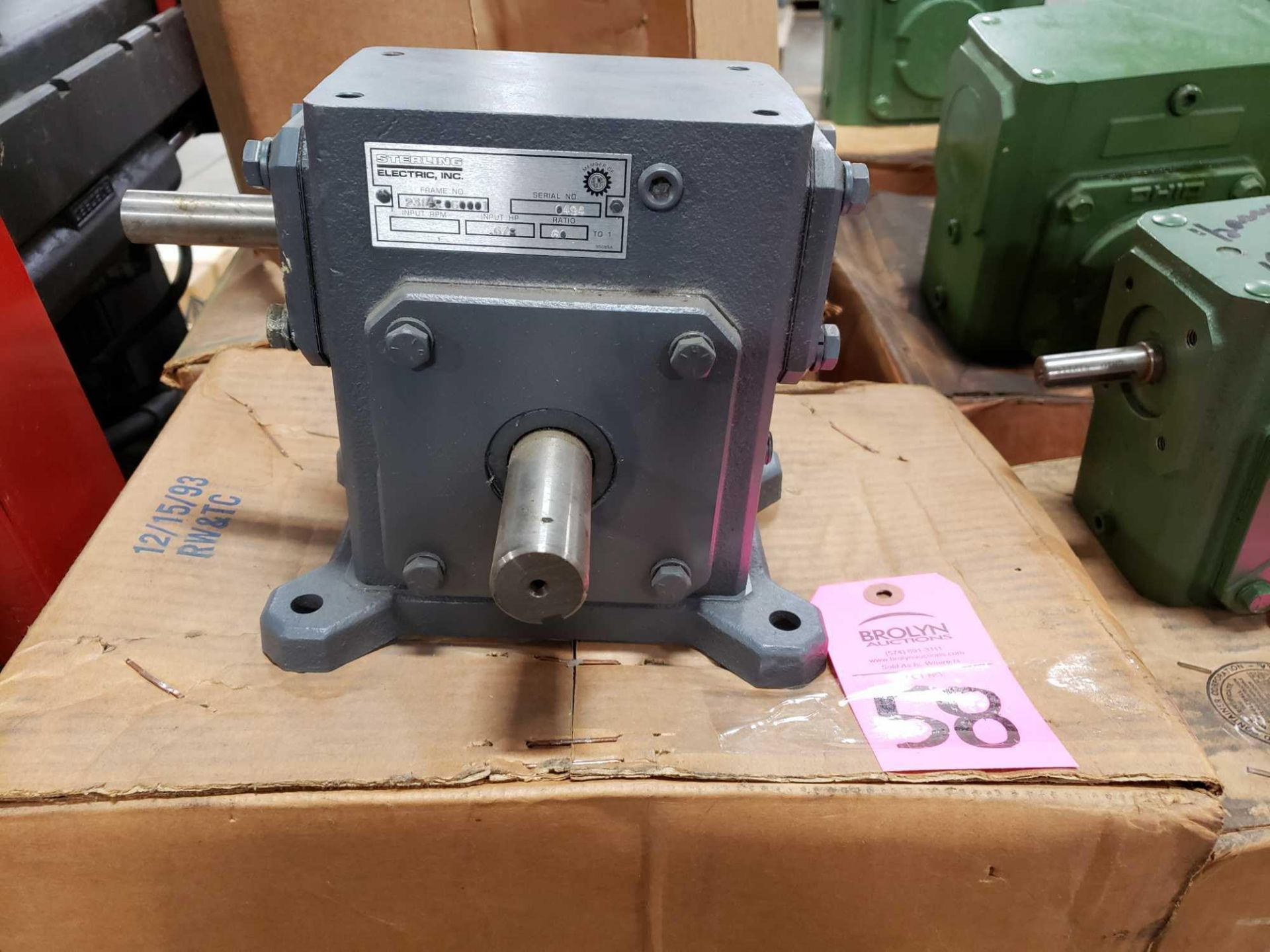 Lot 58 - Sterling Electric gearbox speed reducer, 60 to 1 ratio. New in box.
