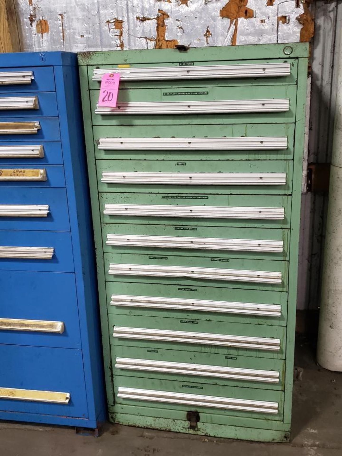 Lot 20 - 11 drawer Tool cabinet. Overall dimensions 59Tx30Wx28D.