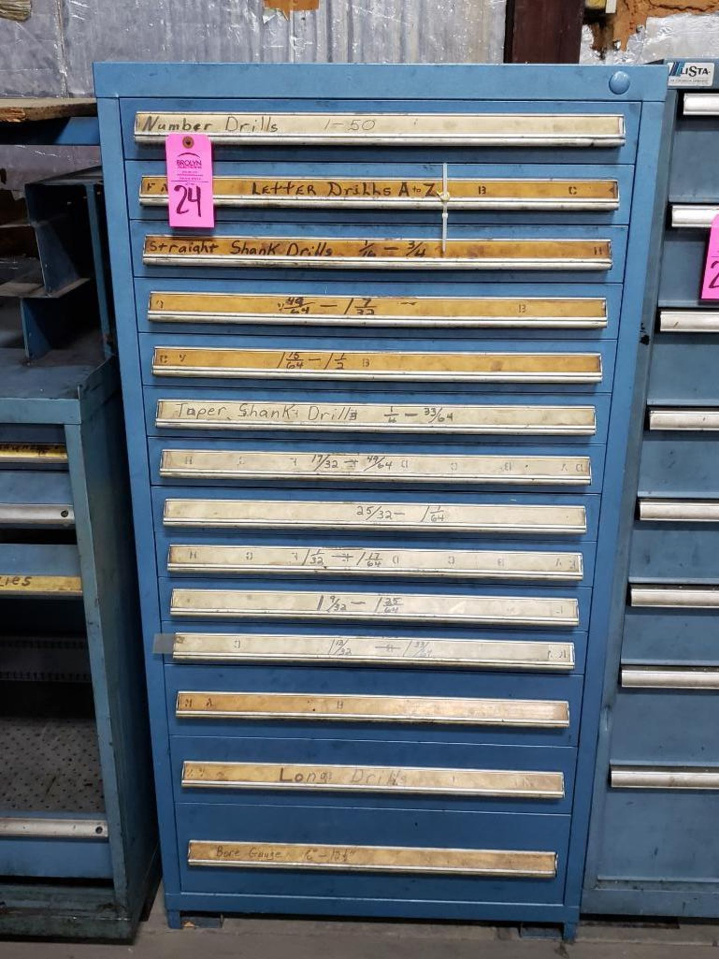 Lot 24 - 14 drawer Stanley Vidmar tool cabinet. Overall dimensions 59Tx30Wx28D.
