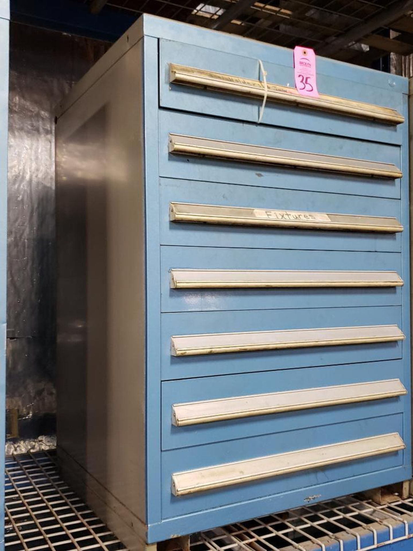 Lot 35 - 7 drawer Stanley Vidmar tool cabinet. Overall dimensions 44Tx30Wx28D.