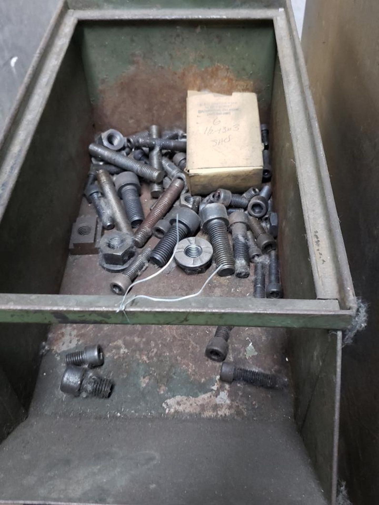 Lot 15 - Storage bins and drawers with large quantity of press hold down hardware.
