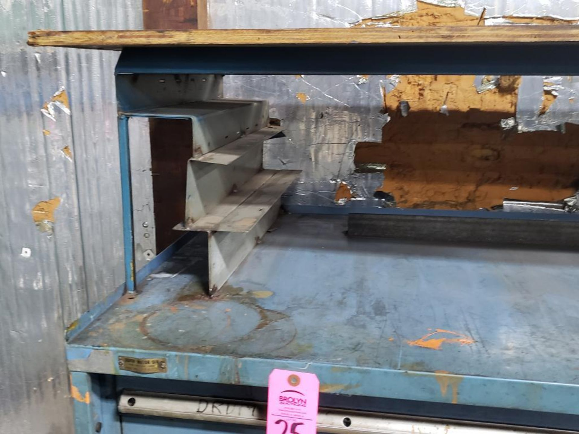 Lot 25 - 11 drawer Stanley Vidmar tool cabinet work bench. Overall dimensions 57.5Tx56.5Wx31D.