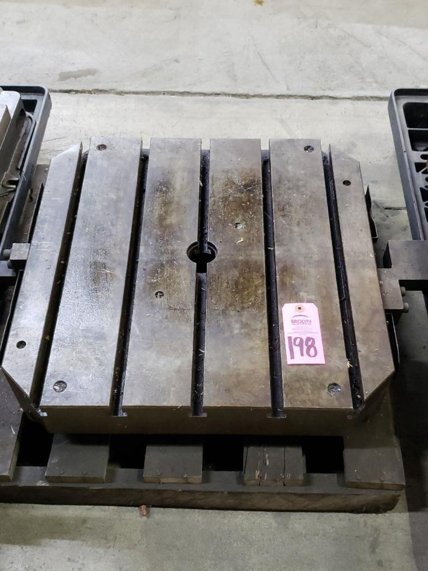 """Lot 198 - 25""""x25"""" T-slotted CNC pallet shuttle table. Approx 13 1/4"""" way clearance."""