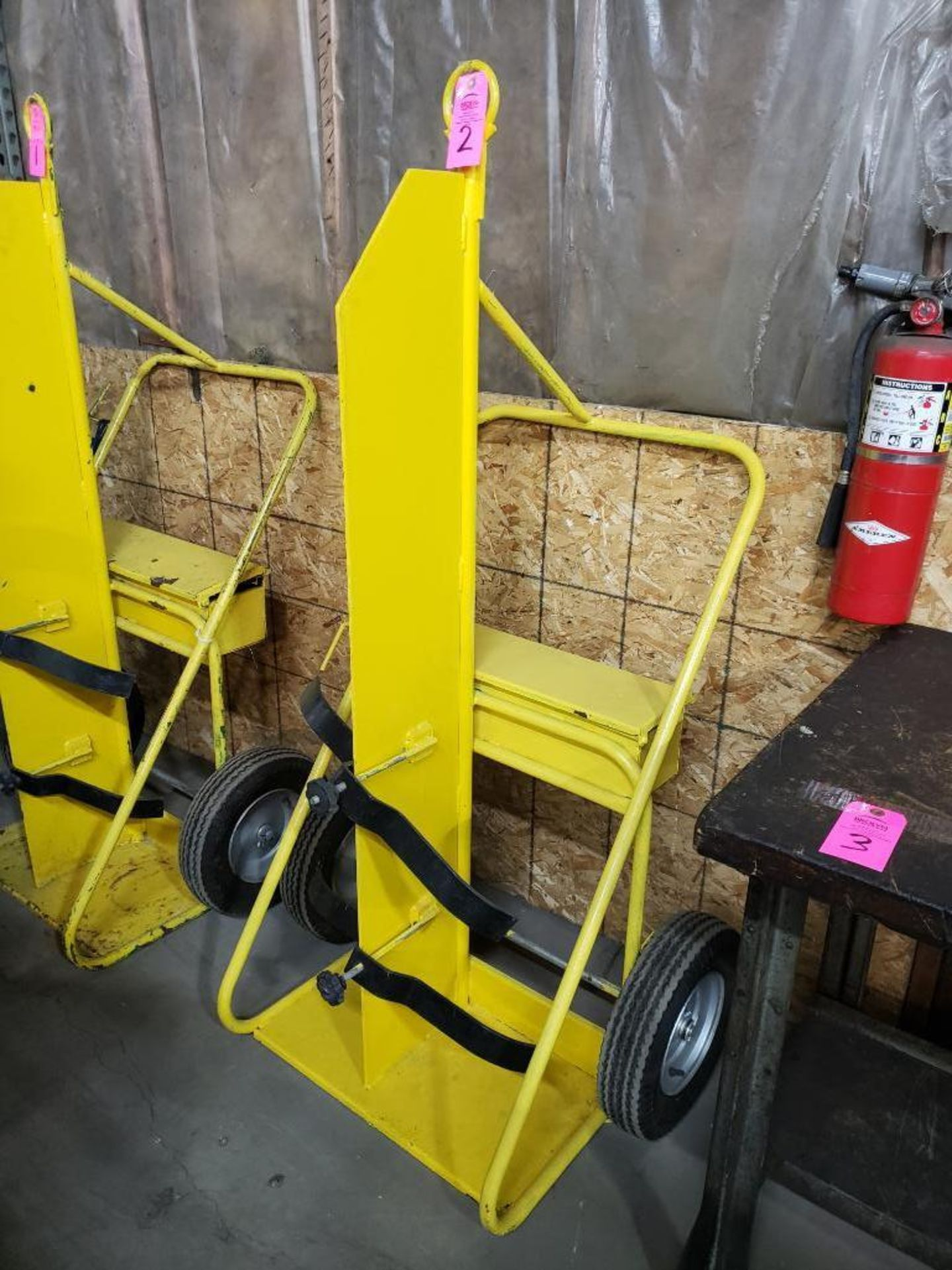 Lot 2 - Heavy duty factory torch cart with pneumatic tires.