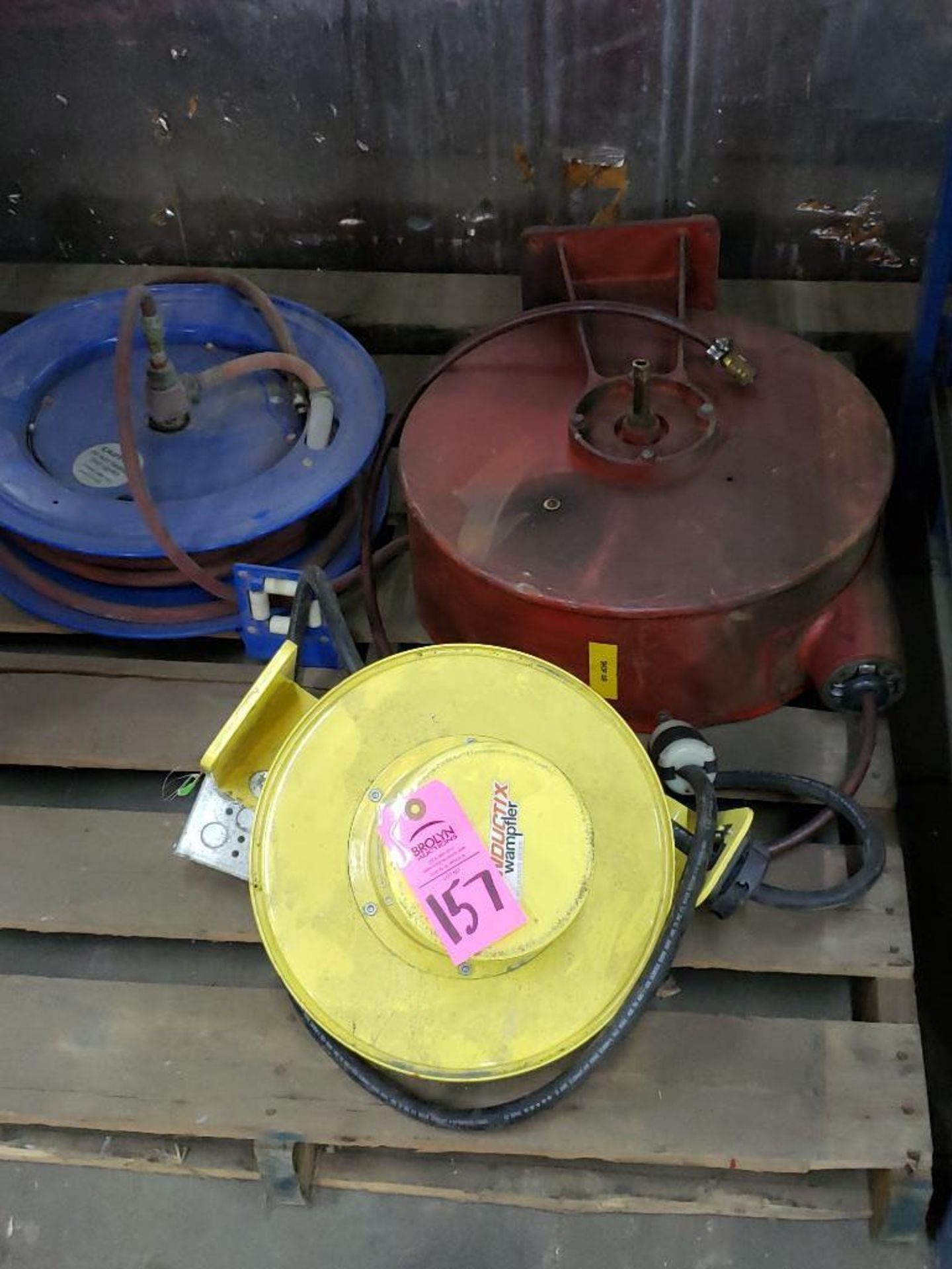 Lot 157 - Qty 3 - Reels, two pneumatic and on electric.