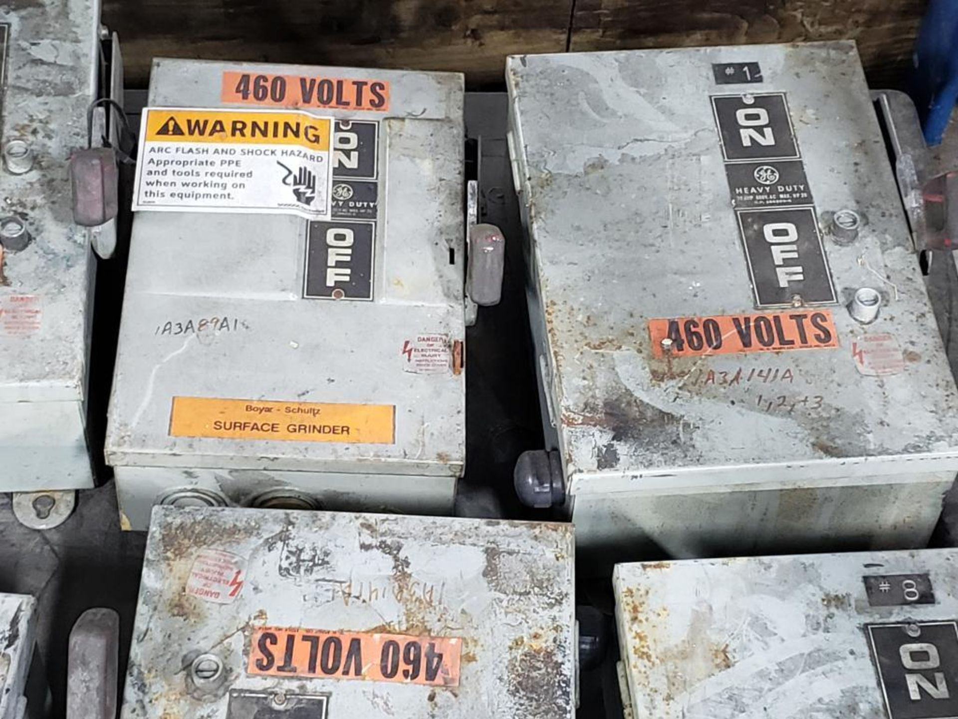 Lot 140 - Qty 11 - Assorted GE disconnects on pallet.