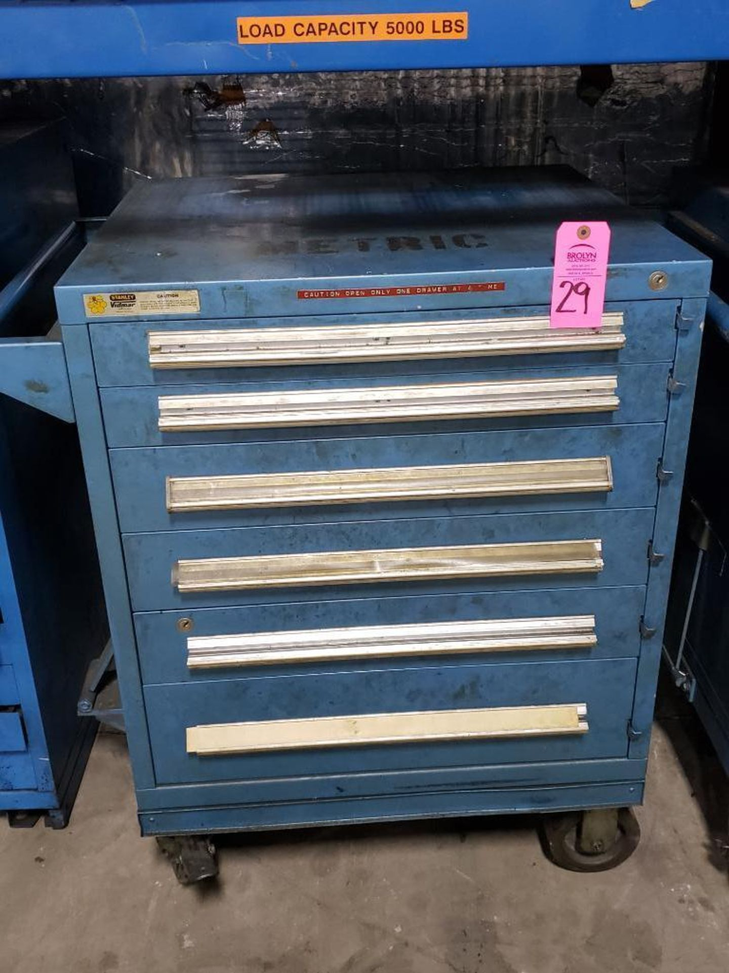 Lot 29 - 6 drawer Stanley Vidmar tool cabineton casters. Overall dimensions 41Tx35.5Wx28D.