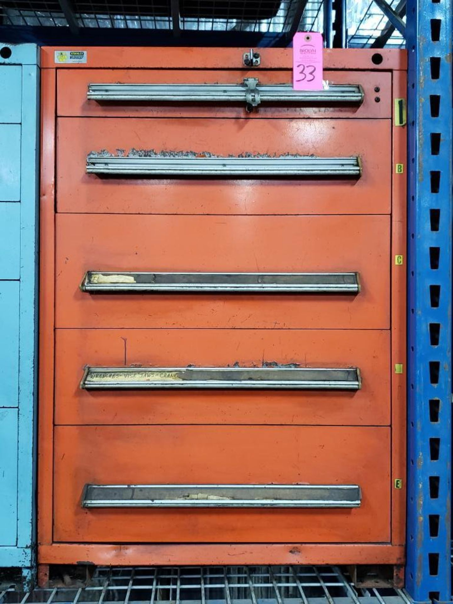 Lot 33 - 5 drawer Stanley Vidmar tool cabinet. Overall dimensions 44Tx30Wx28D.