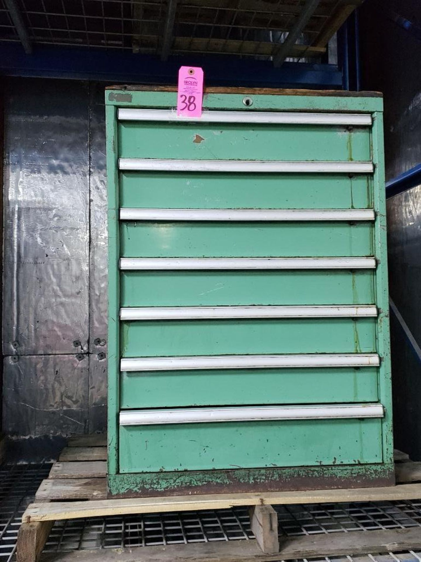 Lot 38 - 7 drawer Tool cabinet. Overall dimensions 40Tx28Wx23D.