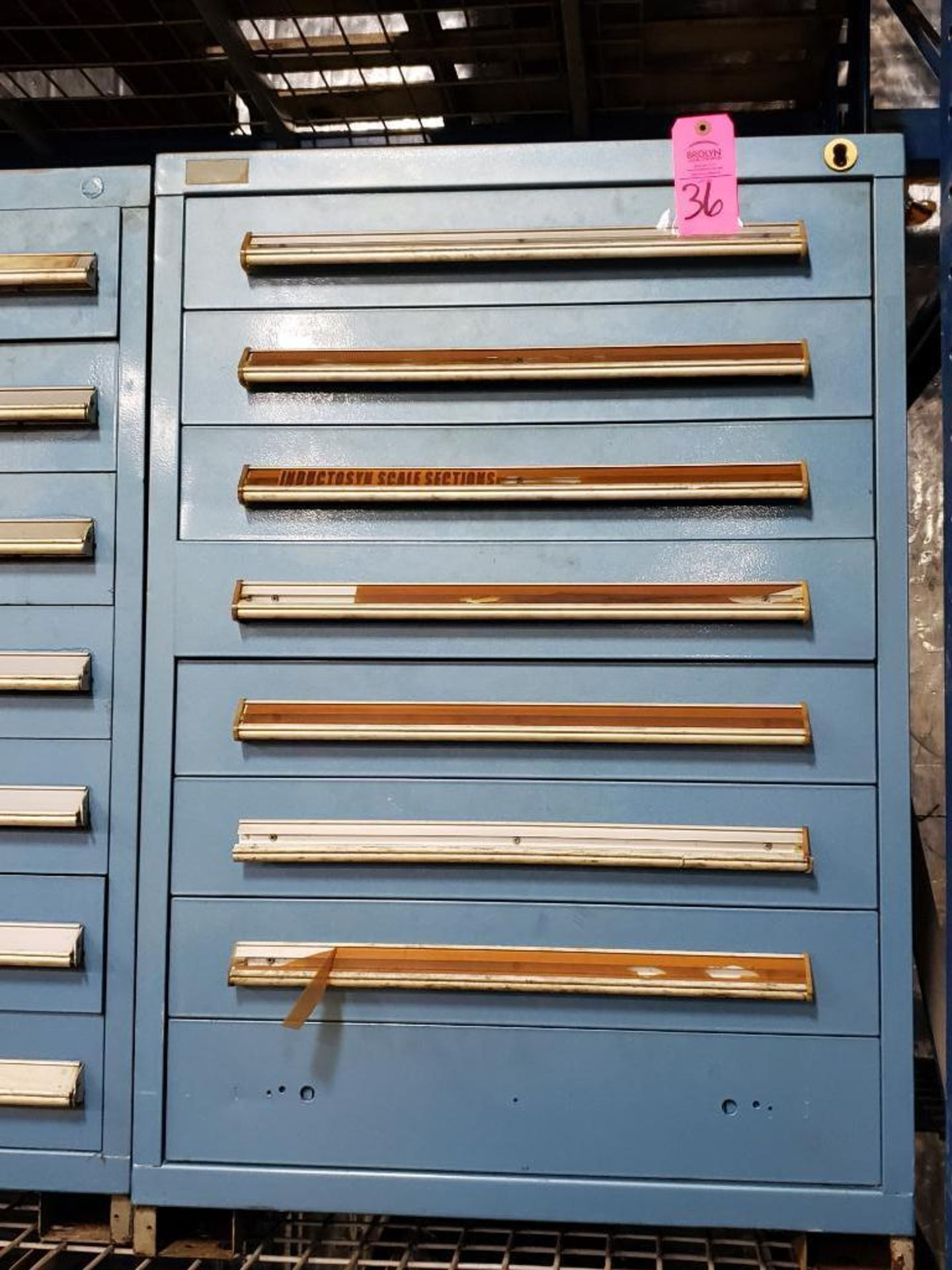 Lot 36 - 8 drawer Stanley Vidmar tool cabinet. Overall dimensions 44Tx30Wx28D.
