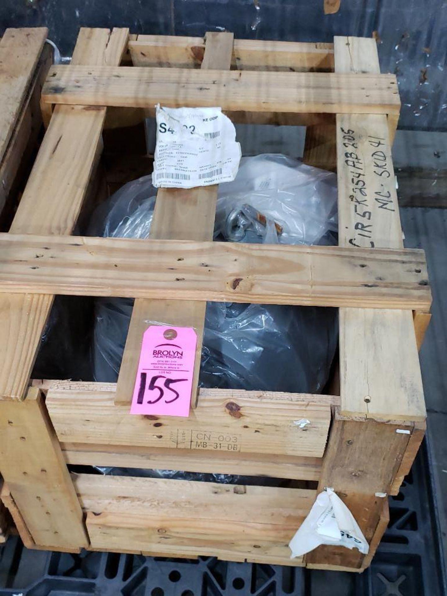 Lot 155 - 15hp GE motor model 5KE254ATE205, 3 phase 230/460v, 1800rpm, 254T frame. New in crate.