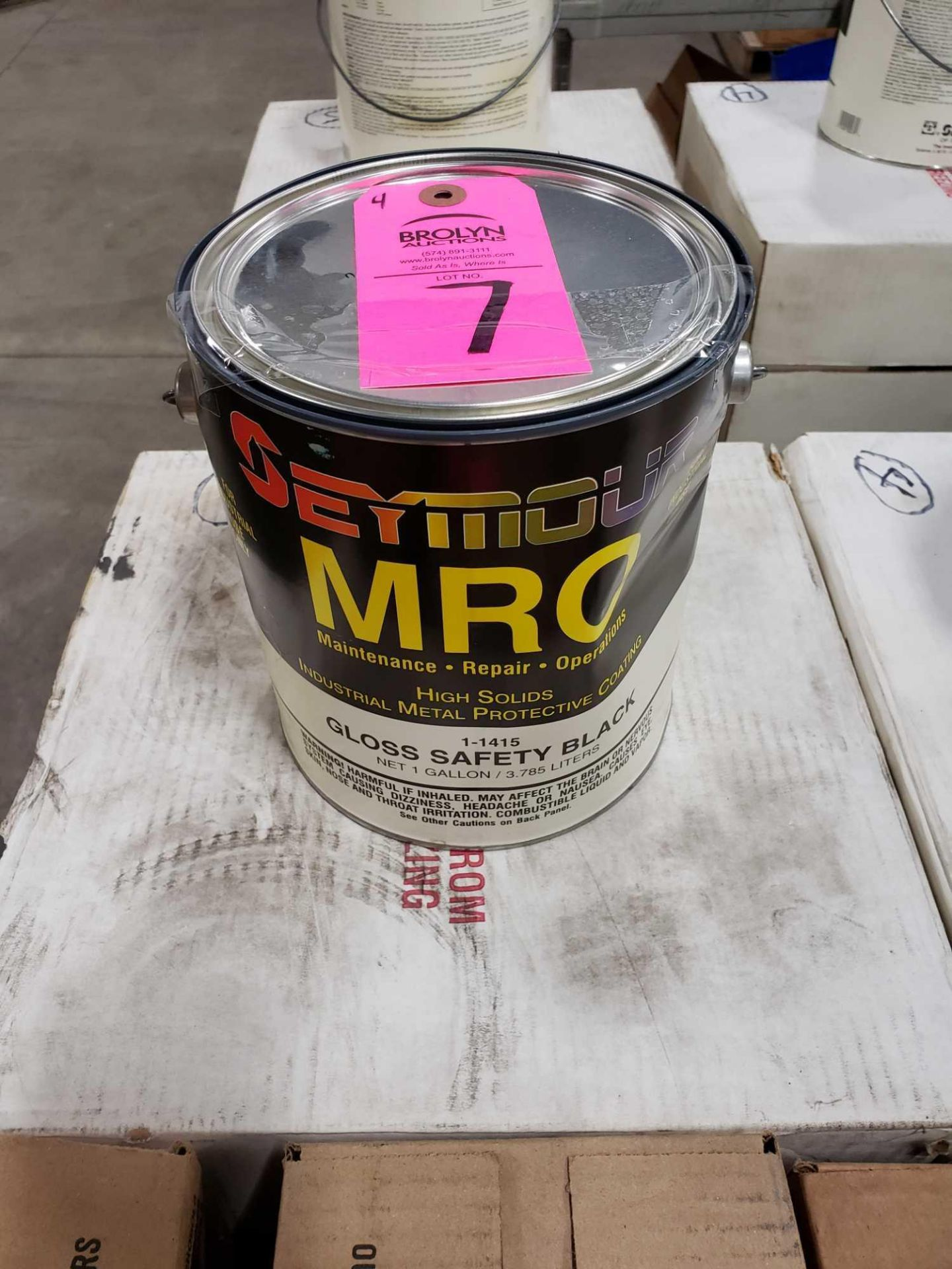 Lot 7 - Qty 4 - Seymour MRO paint Gloss Safety Black model 1-1415. New as pictured.