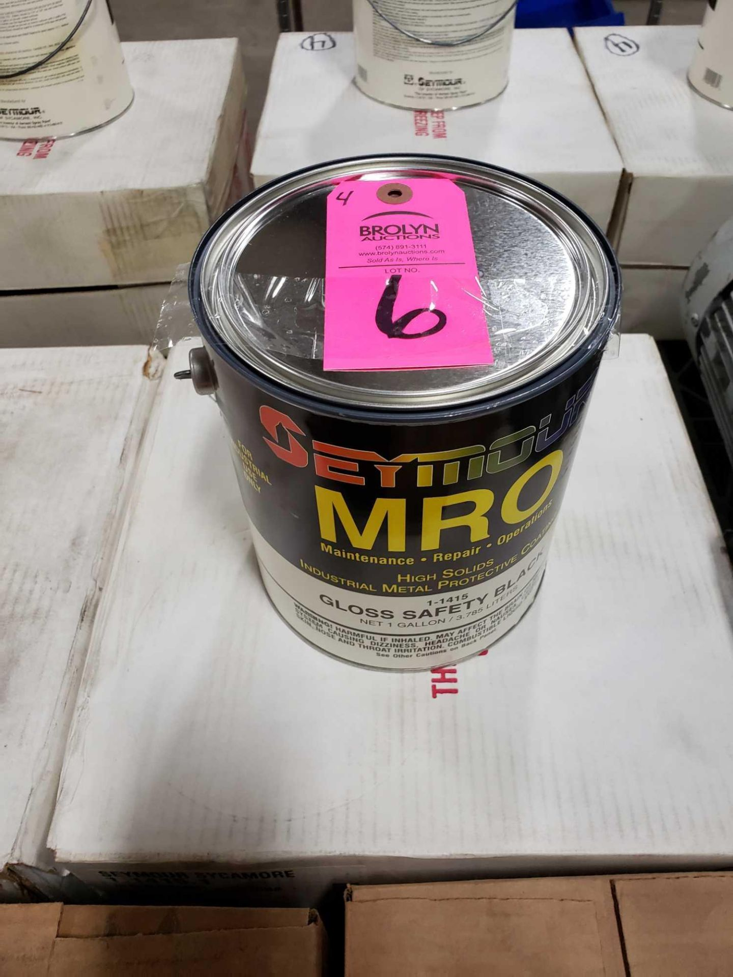 Lot 6 - Qty 4 - Seymour MRO paint Gloss Safety Black model 1-1415. New as pictured.