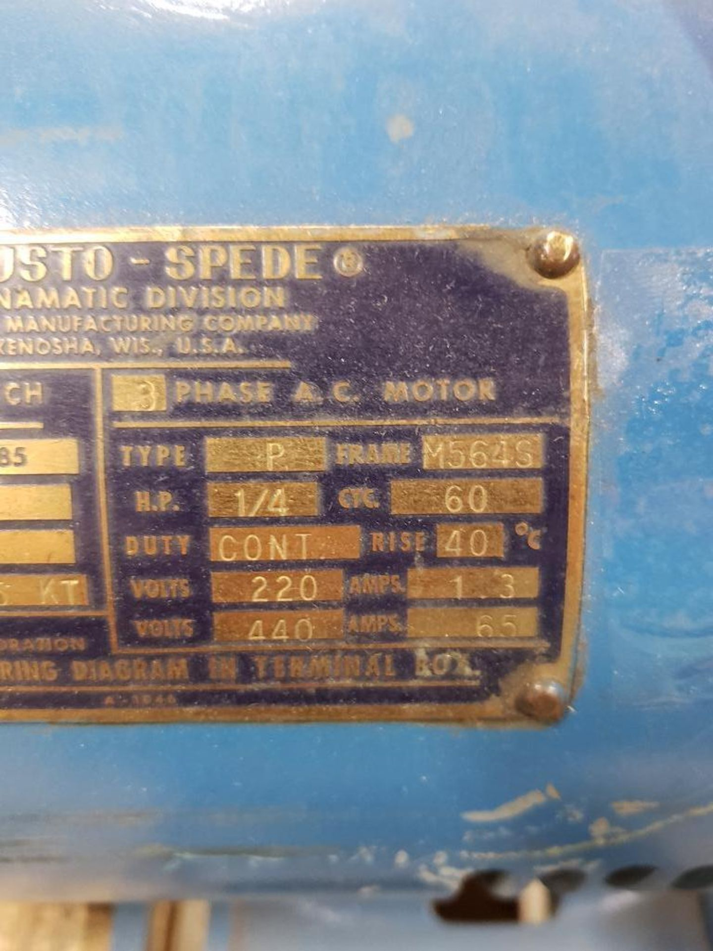 Lot 30 - Ajusto-speed dynamatic motor model 2543-195KT, 1/4hp 3 phase. 220/440v. Appears used with shelfwear.