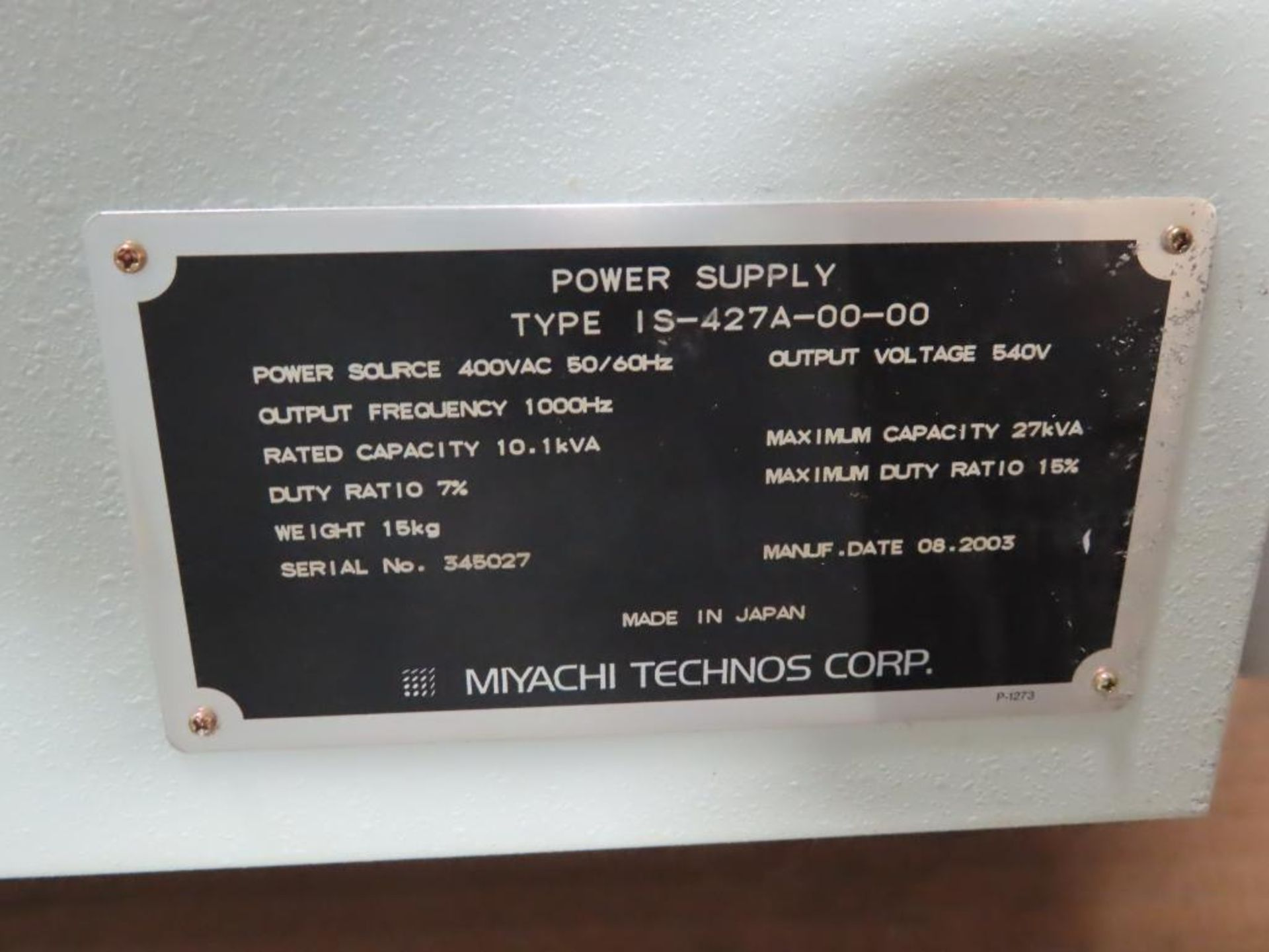 Lot 3 - Miyachi Technos welding power supply type IS-427A-00-00, 27.1kVA max, 540v output.