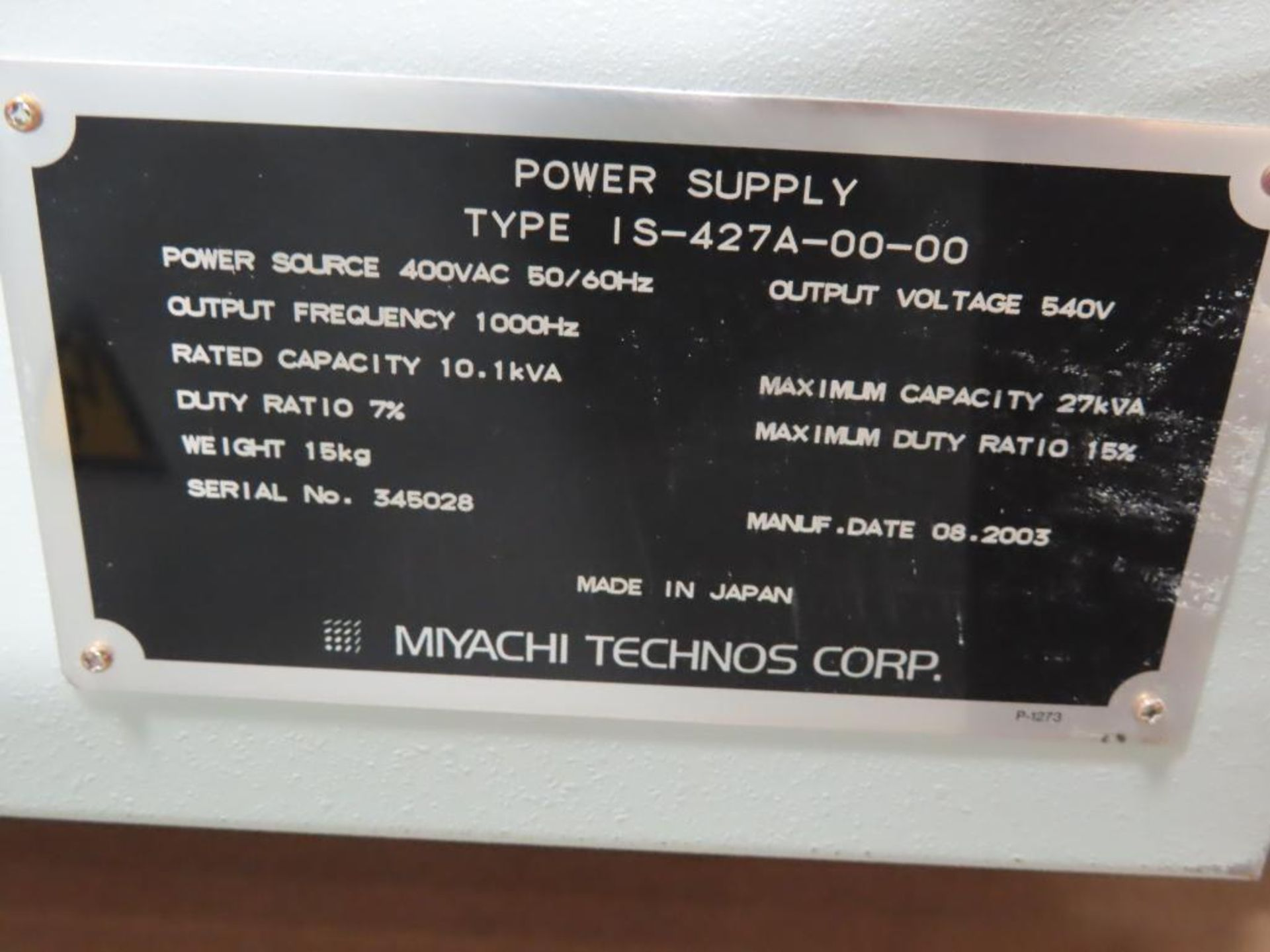 Lot 2 - Miyachi Technos welding power supply type IS-427A-00-00, 27.1kVA max, 540v output.