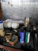 Pallet of assorted maintenance supplies.