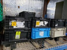 Pallet of plastic totes.