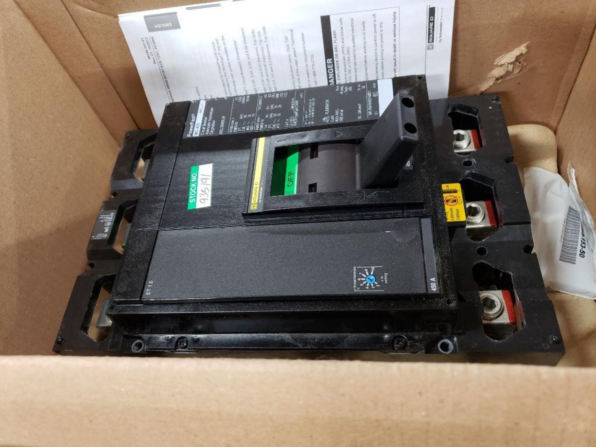 Square D PowerPact breaker. 450 amp 3 phase. Model MGL36450LW. New in box. (minor shelf wear)