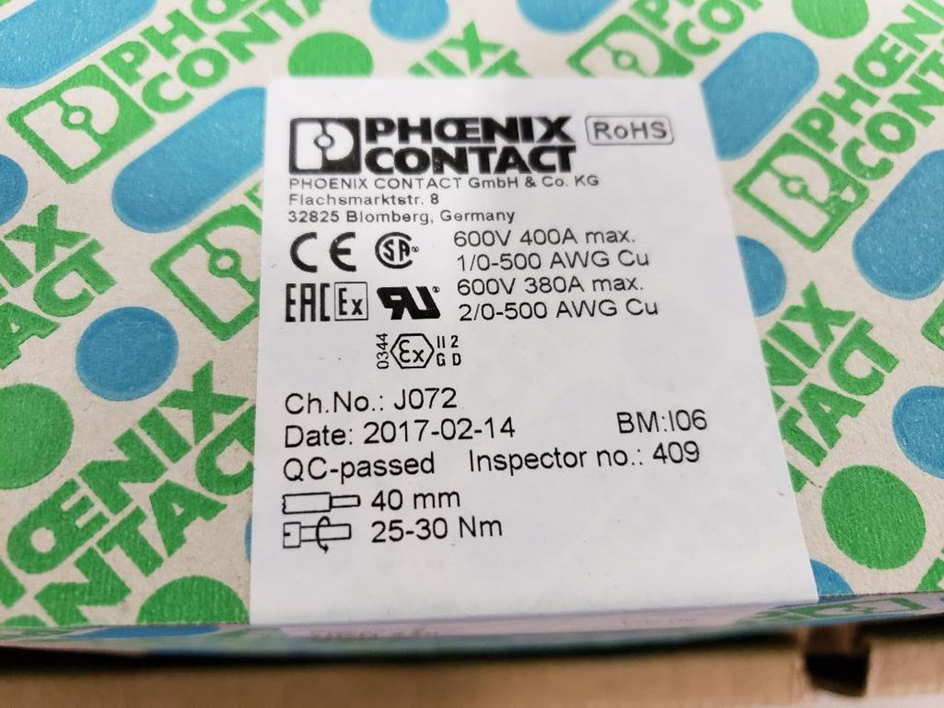 Qty 4 - Boxes Phoenix Contact model 3010217 terminal block. New in box. - Image 2 of 4