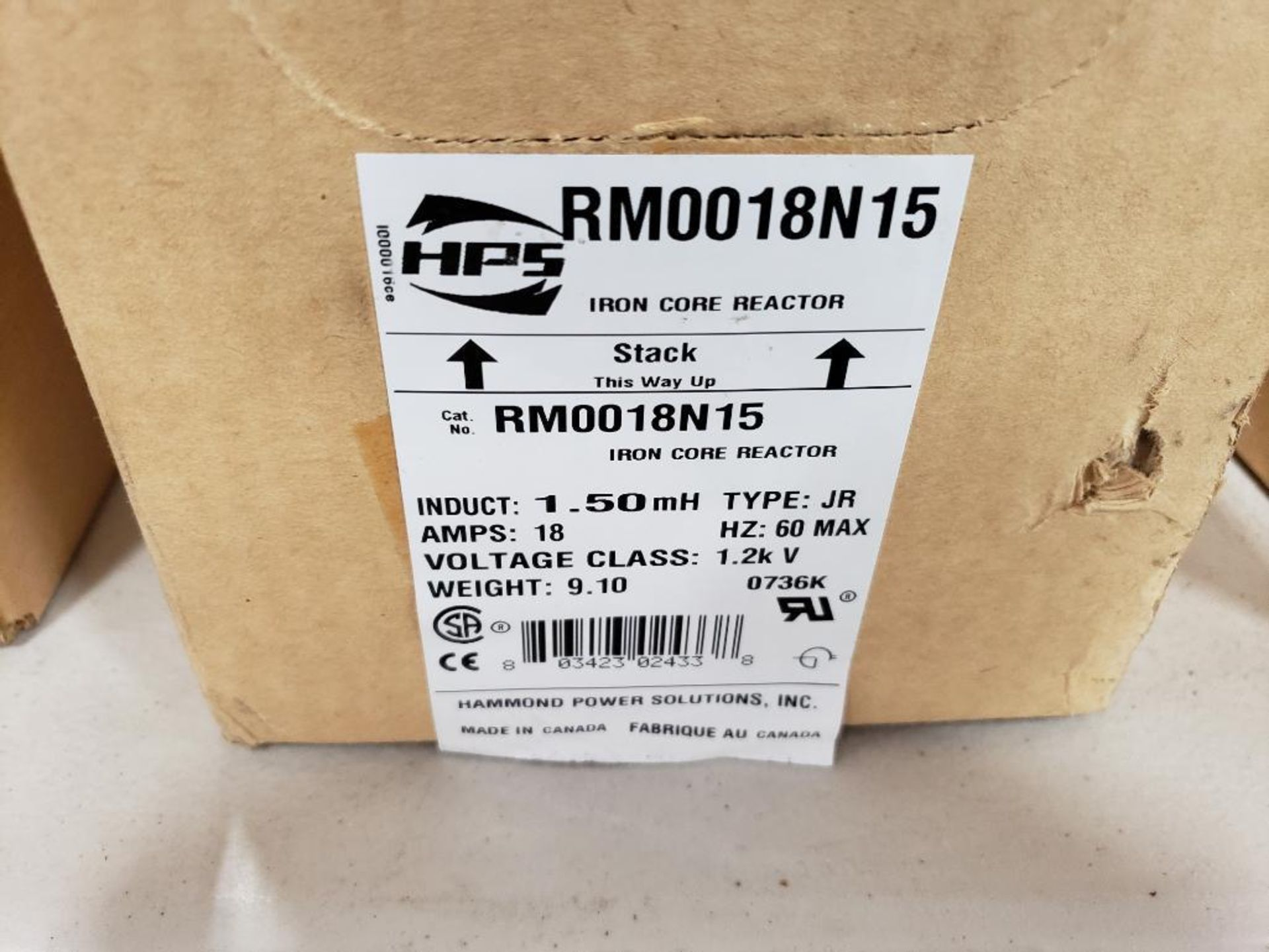 Hammond HPS iron core line reactor. Model RM0018N15. New in box. - Image 2 of 3