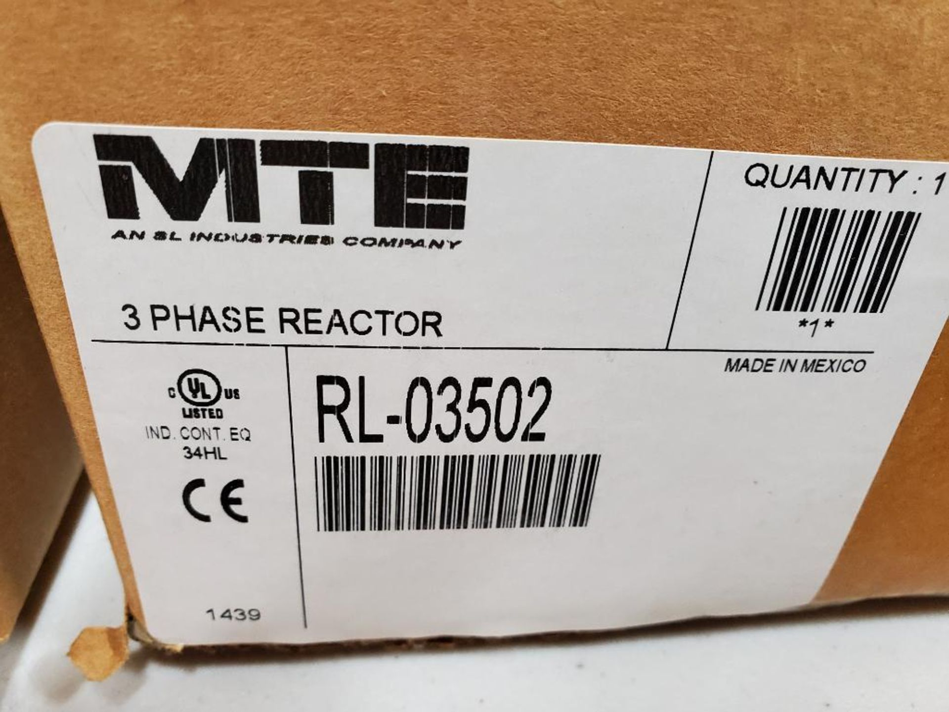 MTE 3 phase line reactor. Model RL-03502. New in box. - Image 3 of 3