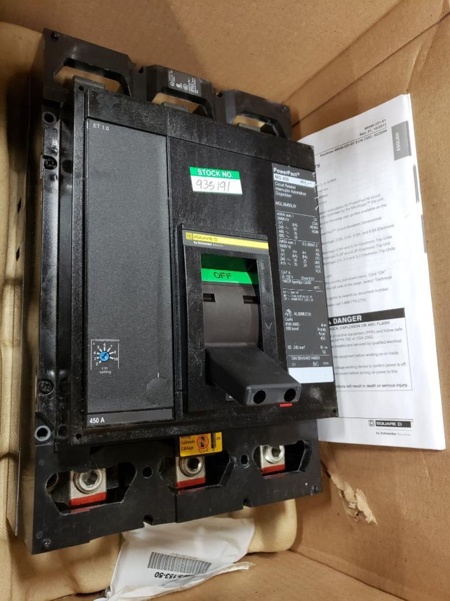 Square D PowerPact breaker. 450 amp 3 phase. Model MGL36450LW. New in box. - Image 2 of 5