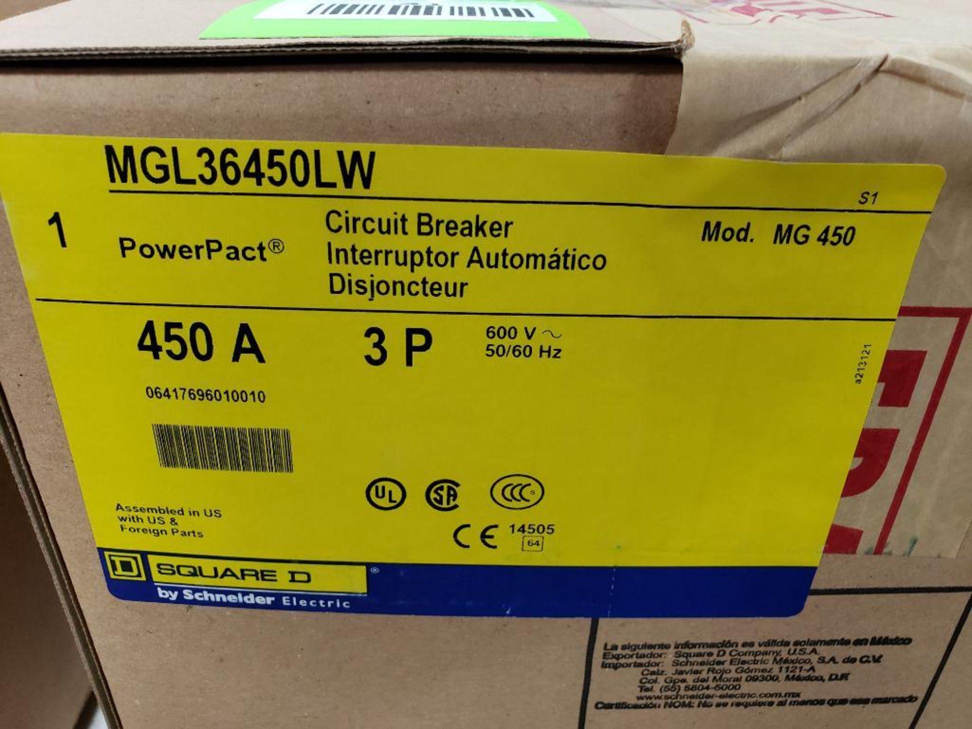 Square D PowerPact breaker. 450 amp 3 phase. Model MGL36450LW. New in box. (minor shelf wear) - Image 3 of 3