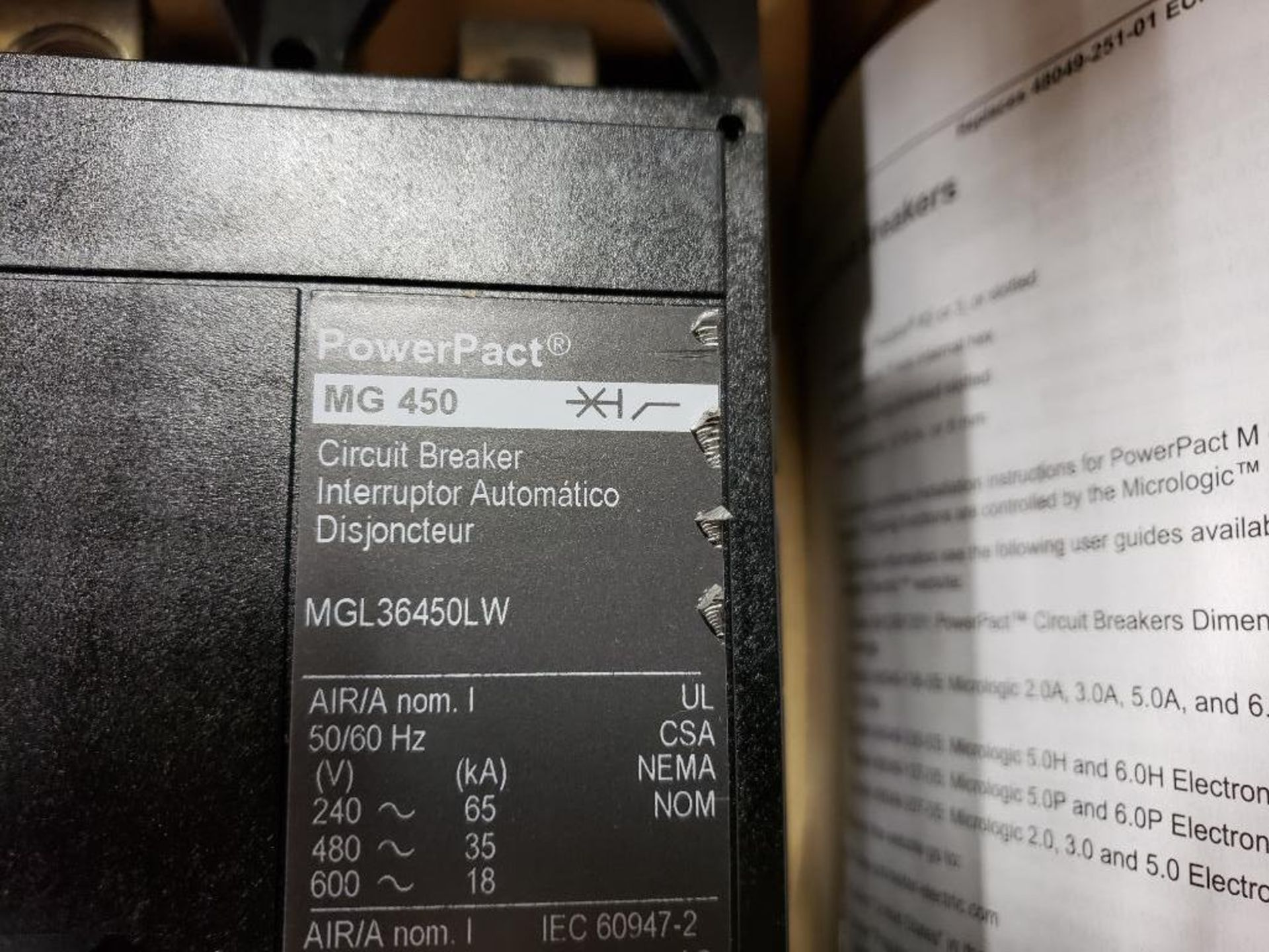 Square D PowerPact breaker. 450 amp 3 phase. Model MGL36450LW. New in box. - Image 3 of 5