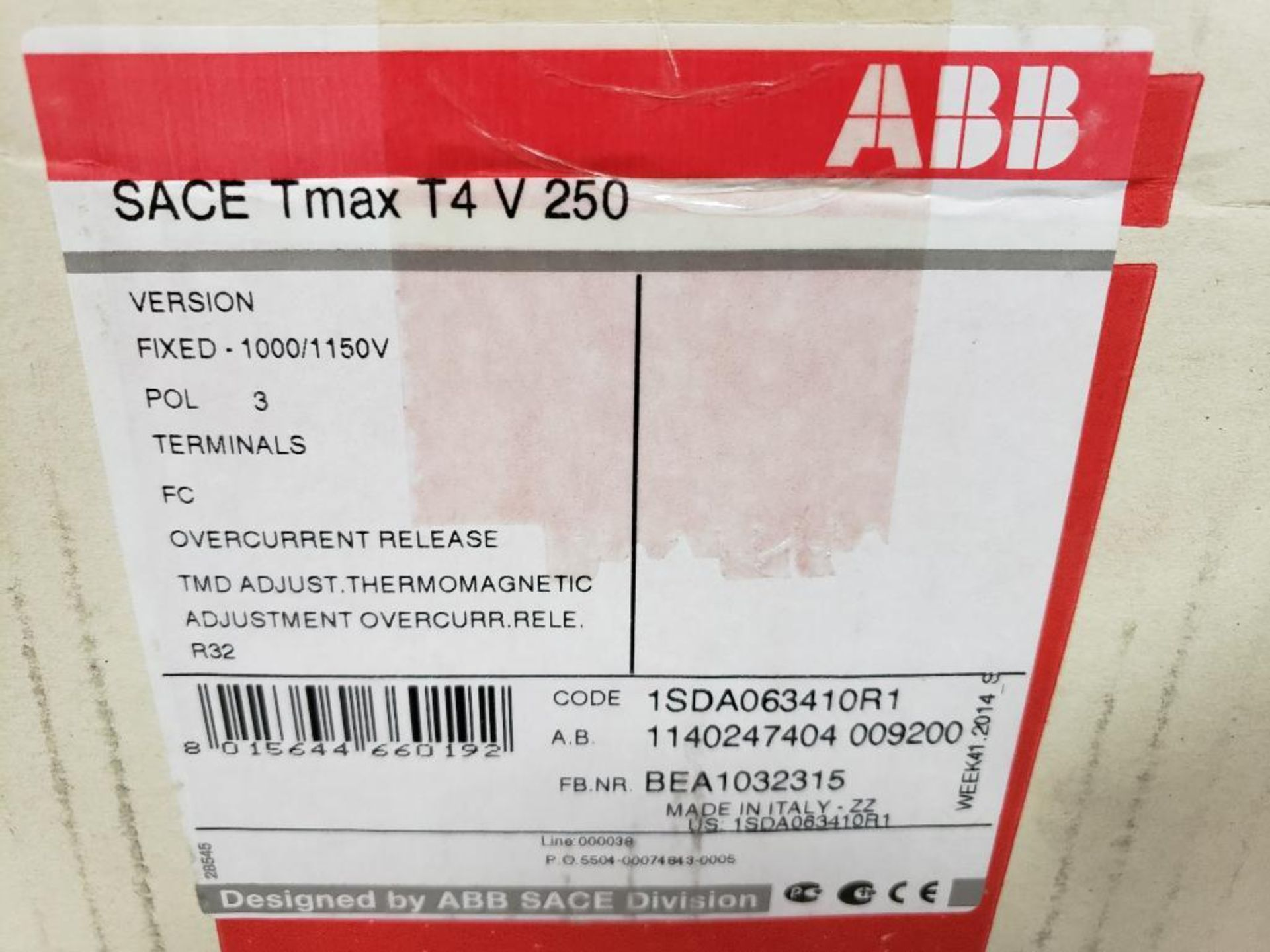ABB circuit breaker model sace tmax t4v250. New in box. - Image 2 of 3