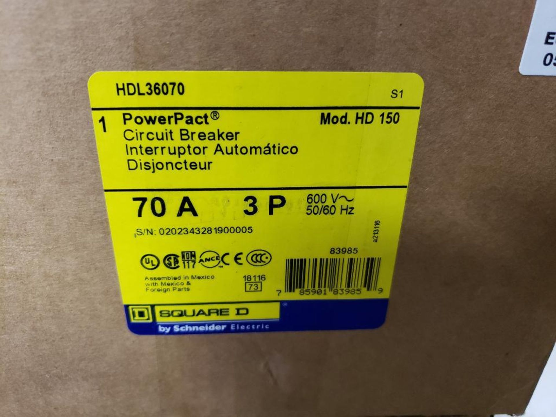 Qty 2 - Square D PowerPact circuit breaker. Model HDL36070. 70amp 3 phase. New in box. - Image 2 of 2
