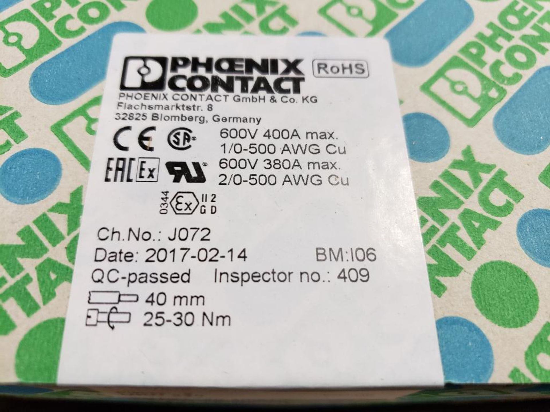 Qty 4 - Boxes Phoenix Contact model 3010217 terminal block. New in box. - Image 2 of 3