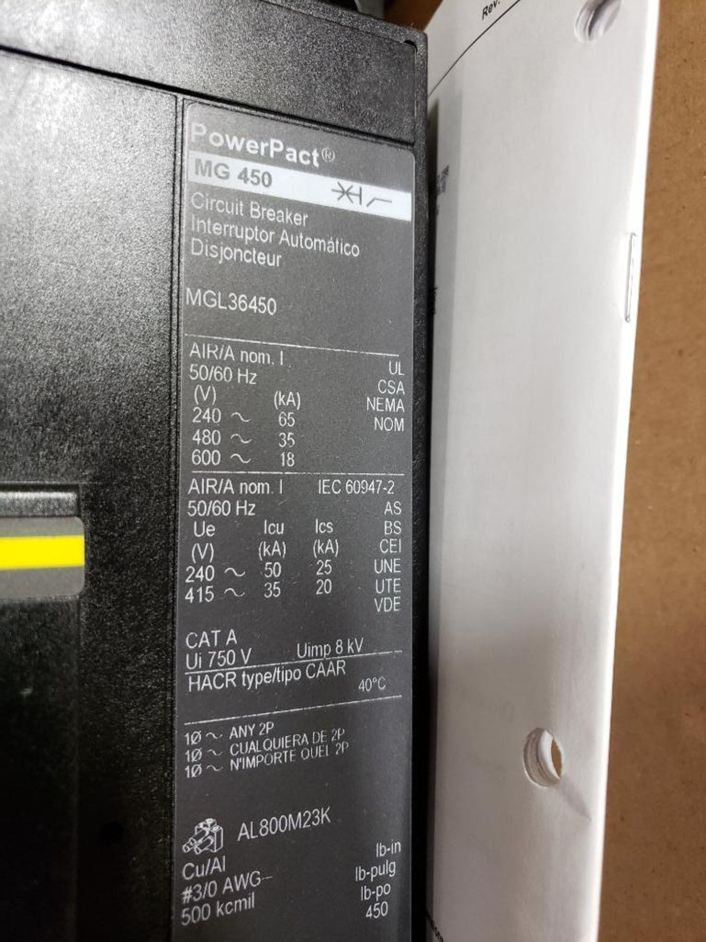 Square D PowerPact breaker. 450 amp 3 phase. Model MGL36450LW. New in box. - Image 3 of 4