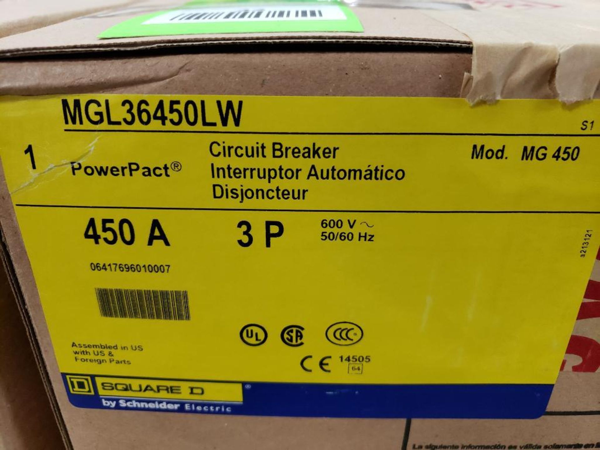 Square D PowerPact breaker. 450 amp 3 phase. Model MGL36450LW. New in box. - Image 2 of 3