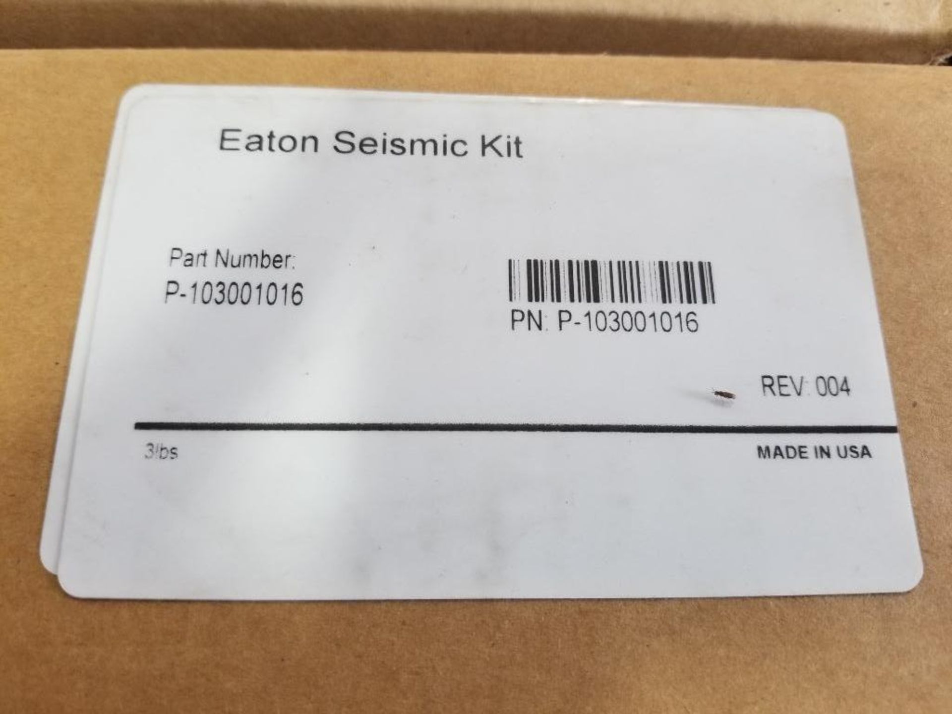 Qty 2 - Eaton Seismic Kit. Part number P-103001016. New in box. - Image 2 of 2
