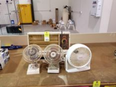 Qty 3 fans and 1 space heater.