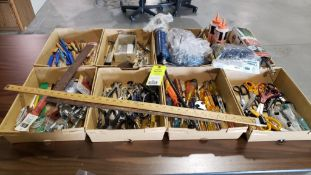Qty 8 flats of assorted tools, scissors, grease guns, parts, etc.