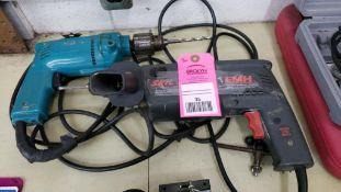 Qty 2 - Drill. Makita and Skil hammer drill.