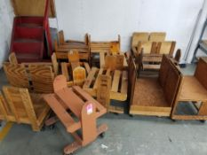 Qty 13 - Wooden rolling carts.