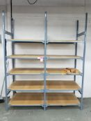 """Two sections of shelving. Overall size 96x76x25""""."""