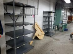 """Qty 3 - sections of metal shelving. Each section measures 80""""x42""""x30""""."""
