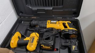 DeWalt 18v corldess drill and saw kit. Includes case and charger.
