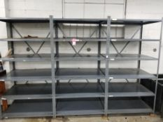 """3 sections of metal shelving. 127""""x80""""x30"""" overall size."""