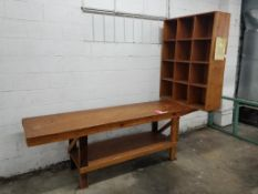 """Wood table with cubby shelf. 100x81x24""""."""