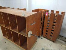 Qty 4 assorted wooden racks.