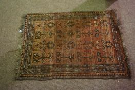 Persian Bluch Rug, Decorated with geometric motifs on an orange ground, 114cm x 80cm