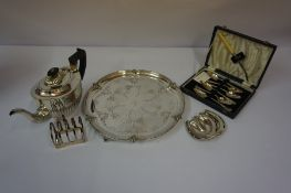 Pair of Silver Butter Dishes, Modelled as horseshoes, Hallmarks for London, also with a small